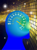 Speed of mind. Fast mind with speed watch Stock Image