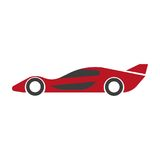Speed modern red car with spoiler isolated illustration. High speed modern red car with spoiler isolated minimalistic cartoon vector illustration on white Royalty Free Stock Photo
