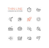 Speed - modern vector single thin line icons set Stock Photos
