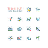Speed - modern vector single thin line icons set Royalty Free Stock Photography