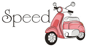 Speed with moped. Pink moped with black word speed Stock Photo