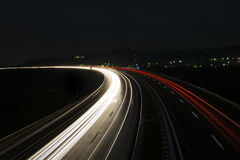 Speed morning traffic motion blur in europe Stock Photography