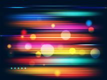 Speed motion background with colorful light beams and bokeh effect for futuristic technology concept.  vector illustration