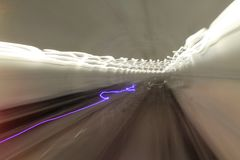 Speed. Motion blur in the tunnel of subway Royalty Free Stock Photo