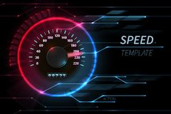 Speed motion line vector abstract tech background with car racing speedometer royalty free illustration