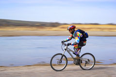 Speed motion mountain biker Royalty Free Stock Photo