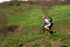 Speed motion mountain biker Royalty Free Stock Image