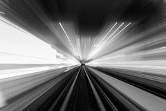 Speed motion in urban highway road tunnel royalty free stock photo