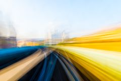Speed motion in urban highway road tunnel stock photography