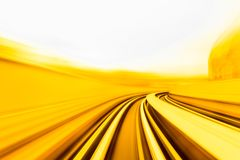Speed motion in urban highway road tunnel. Abstract speed motion in urban highway road tunnel, blurred motion toward the light. Computer generated colorful Royalty Free Stock Photo