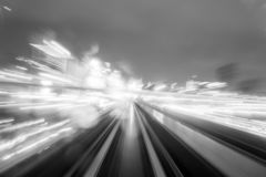 Speed motion in urban highway road tunnel stock photos