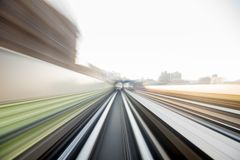 Speed motion in urban highway road tunnel royalty free stock photography