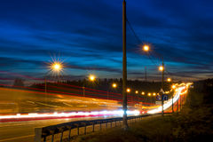 Speed movement of vehicles on the highway Royalty Free Stock Photo