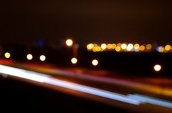 Speed. Night city car lamp abstraction Royalty Free Stock Photos