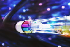 Speed of optic fiber. 3D Rendering Stock Photo