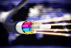 Speed of optic fiber. Image of an optical fiber with lights Stock Photo
