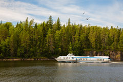 Speed passenger ship near the island of Valaam in Russia Stock Photography