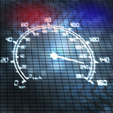 Speed and police. Speeding auto speedometer and police lights abstract illustration Royalty Free Stock Images