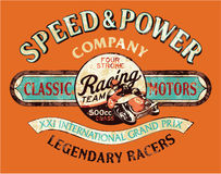 Speed and power vintage motorcycle racing team. Vector print for boy t shirt royalty free illustration