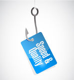 Speed and quality hook and tag sign Royalty Free Stock Images