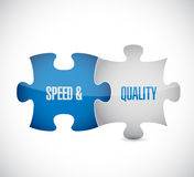 Speed and quality puzzle pieces sign Stock Photos