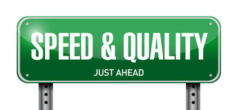 speed and quality road sign illustration Royalty Free Stock Photography