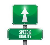 speed and quality road sign illustration Stock Photography