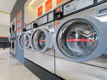 Speed Queen washing and drying machine. PULA, CROATIA - MAY 4, 2016: Speed Queen coin operated laundromat washing and drying machine in Pula, Croatia royalty free stock photography