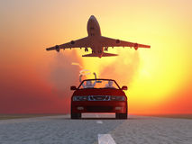 Speed race. At sunrise, 3d Stock Photography
