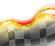 Speed Race Car Background. A speed race car background with red and yellow waves on a white background. There is a black and white checkered flag flowing to Stock Photos