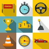 Speed race icons set, flat style. Speed race icons set. Flat illustration of 9 speed race vector icons for web Stock Image