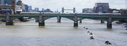 Speed  race in thames river. A picture of jets speeding in thames river in a race,in London UK,in a summer day of june Royalty Free Stock Image