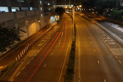 Speed Racing at silent night. Two cars are speed racing at the silent night, Hong Kong Stock Photo