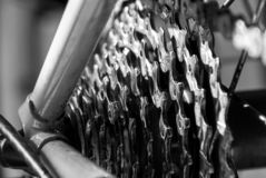 9 speed rear bicycle cassette close up stock images