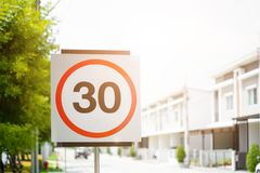 30 speed reduction sign Royalty Free Stock Photography