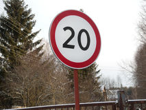 Speed restriction road sign Stock Photos