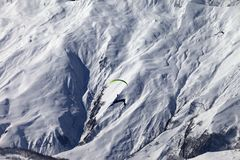 Speed riding in winter mountains at sun day Royalty Free Stock Photos