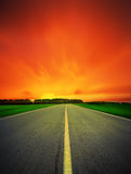 Speed road leaving in night Royalty Free Stock Photo