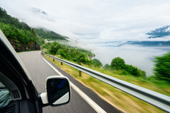 Speed road near amazing nature in Norway Stock Photo