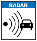 Speed road radar icon. Notice traffic symbol in blue circle isolated on white with text. Royalty Free Stock Photography