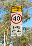 40 speed school zone sign with blurred background Royalty Free Stock Photos