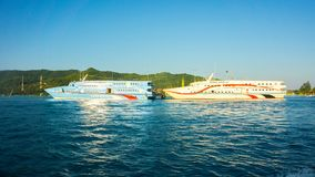 A speed ship on the port or small harbor in karimun jawa indonesia stock photo