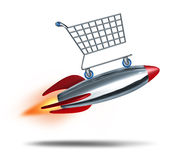 Speed Shopping. And quick check out concept with a shop cart flying in the air with a rocket blast as a symbol of fast consumer sales service on a white Royalty Free Stock Photo