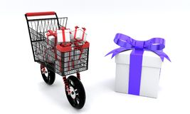 Speed shopping gift boxes concept, 3d. Render Royalty Free Stock Photos