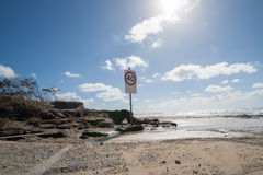 Speed sign  on beach. Stock Image