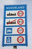 Speed sign when entering the Netherlands with all kind of speeds for type of roads in kilometers.  royalty free stock image