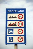Speed sign when entering the Netherlands with all kind of speeds for type of roads in kilometers.  royalty free stock photos
