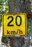 Speed Sign Yellow Slow Details. Yellow speed sign tree trunk grew over it road royalty free stock images