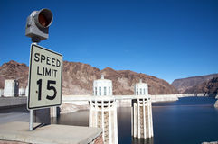 Speed sign at Hoover Dam Royalty Free Stock Photos