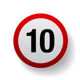 Speed sign - Number ten button Stock Photography